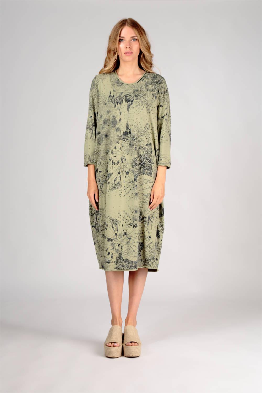 Kleid in gruen aus Jersey von der Modemarke Grizas