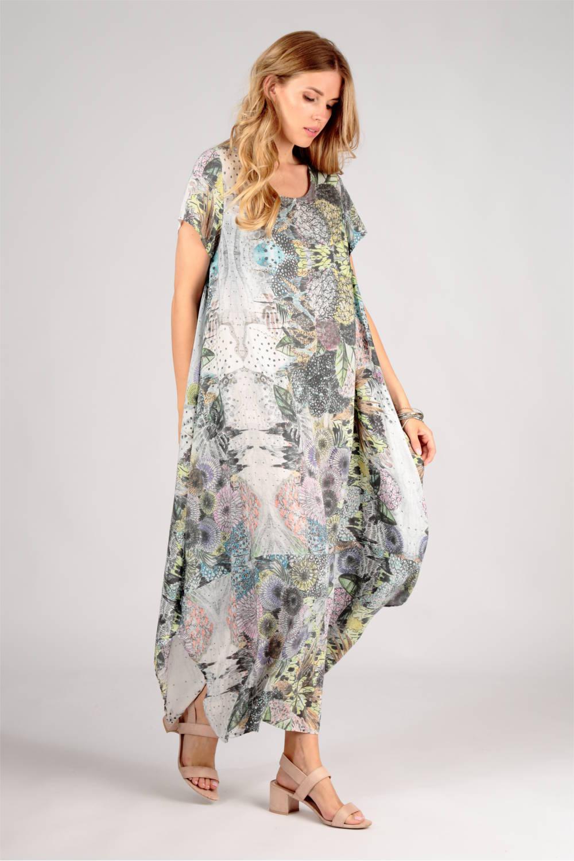 langes weisses Kleid mit Aquarell Zeichnungen von der Modemarke Grizas